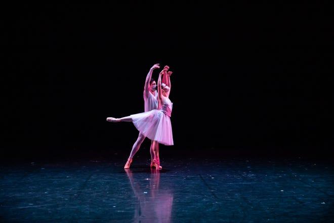 "Dancers David Ward and Emily Luria perform in BalletMet's ""Unlocked."""