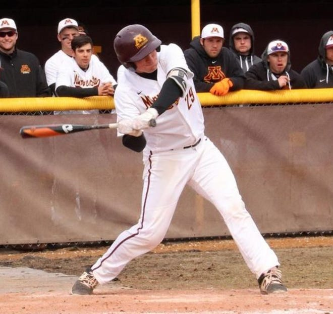 Ben Thoma during a game in 2018. Thoma was named the NSIC Elite 18 Award winner for baseball this season.