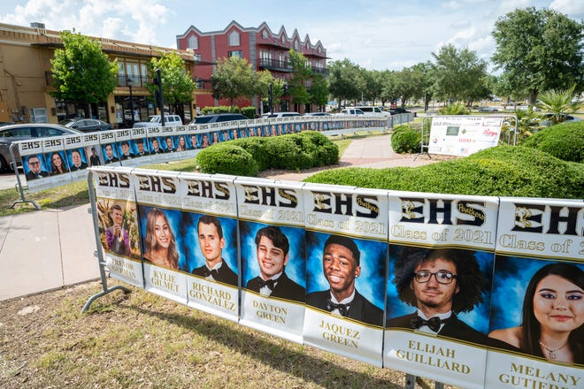 Eustis High School senior banners line the courtyard in downtown Eustis. [Cindy Peterson/Correspondent]