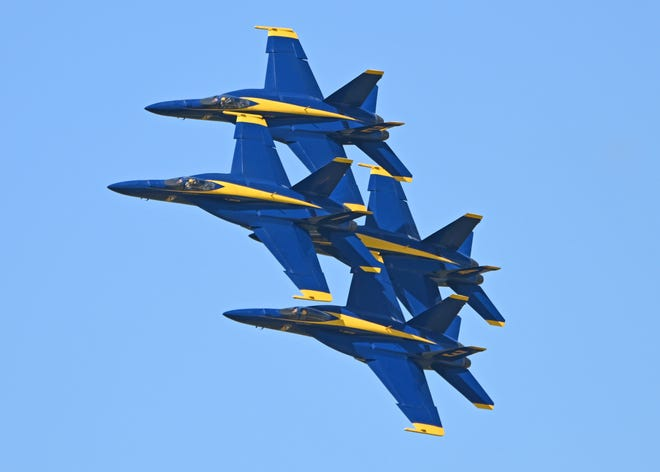 The Navy's Blue Angels, celebrating their 75th year, thrilled the Armed Forces Day crowd at the Florida Air Show in Melbourne last weekend.
