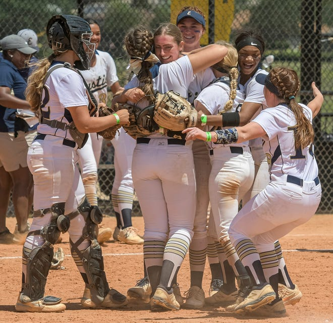 The Eustis Panthers celebrate after winning Thursday's Class 4A state semifinal game against Orange Park Ridgeview at Legends Ball Fields in Clermont. Eustis will face Plantation American Heritage Friday for the state championship. [PAUL RYAN / CORRESPONDENT]