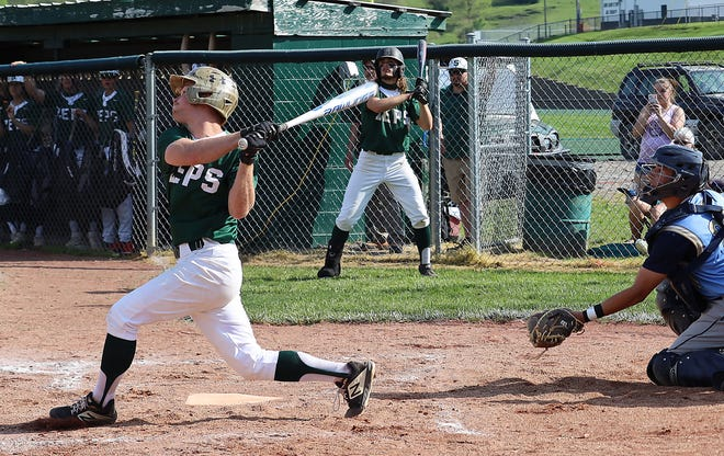 Shenandoah's Cole Hughes (2) connects for a base hit during the Division IV sectional championship game against Frontier at Shenandoah High School on Wednesday.