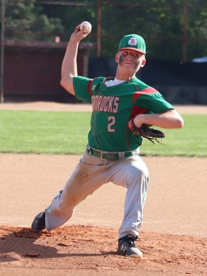 Barnesville's Aydan Hannahs (2) lets loose with a pitch during Wednesday's 9-2 Division III sectional championship victory over Fort Frye.