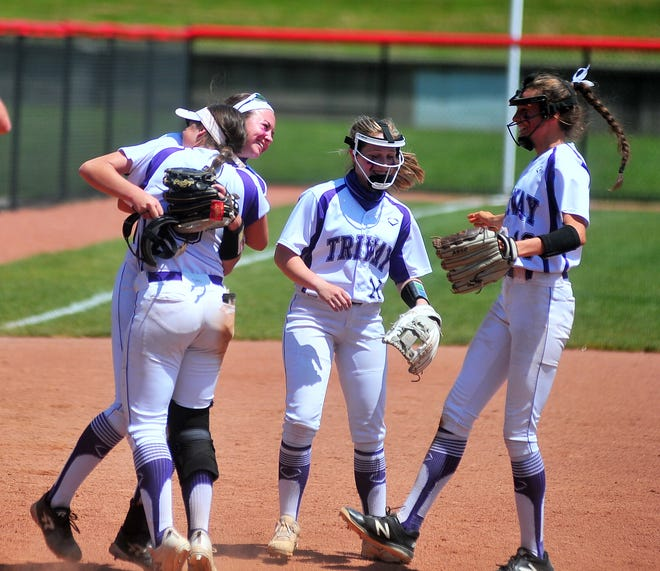 Triway's infield celebrates after they beat Copley 10-0 in the Div. II Akron District final.