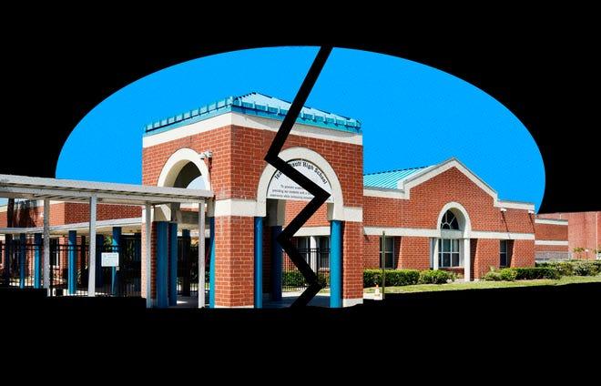 A photo illustration of Jean Ribault High School