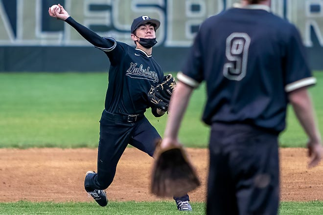 Galesburg third baseman Kadin Spencer throws to first for an assist after a diving stop during the Silver Streaks' 5-1 win over Knoxville on Wednesday, May 19, 2021 at Jim Sundberg Field.