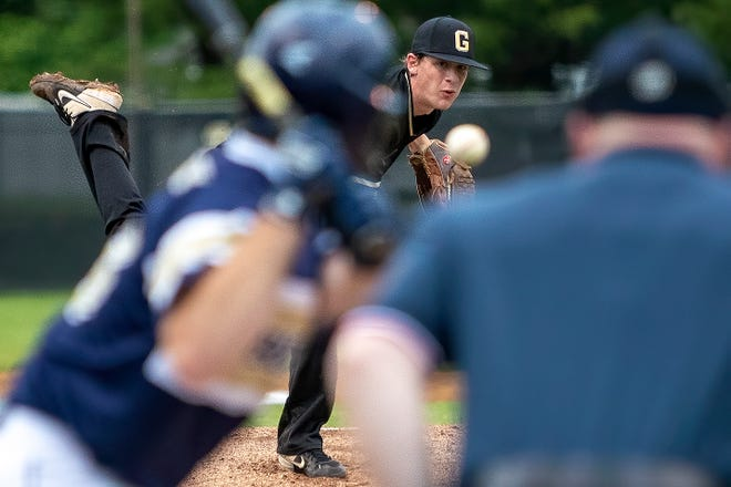 Galesburg senior righty Damon Reed pitches to a Knoxville hitter during the Silver Streaks' 5-1 over the Blue Bullets on Wednesday, May 19, 2021 at Jim Sundberg Field.