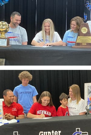 Gunter's Nyah Ingram (top) signed to play volleyball for NCTC while Taylor Boddie signed to play basketball for Newman University.