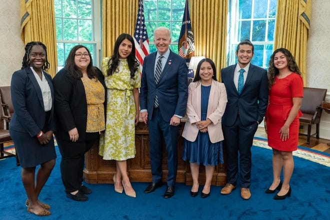 Immigrant Dreamers meeting with President Joe Biden in the Oval Office last week were, from left, Astou Thine, New York, Karen Rayes, Texas, Maria Praeli, Washington, D.C. Esmeralda Tovar-Mora, Kansas, and Leydy Rangel and New Lacthivongskorn, both of California. The six had a 90-minute sit down to discuss immigration, DACA, and the Dreamers and Promise Act of 2021.
