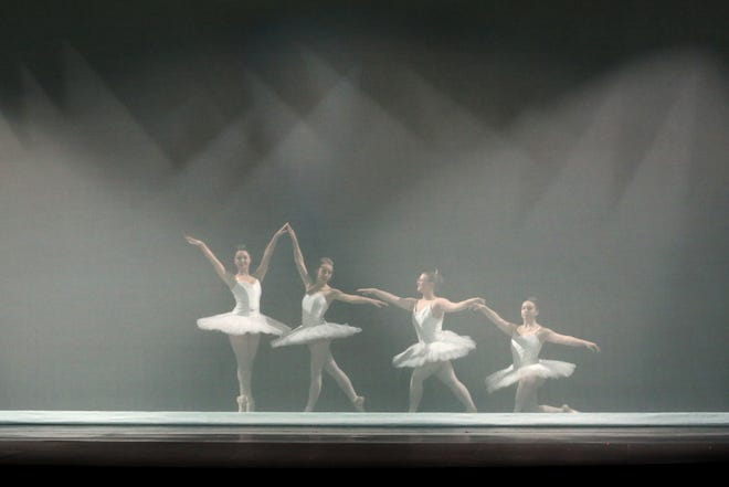 """ArtisTree dancers Madeline Biggs, Betsy Miller, Morgan Hixson and Olivia Self begin the first dance behind a screen called """"ClassicalScapes"""" A Blank Canvas, during rehearsal for the 42nd Annual Spring Show""""Magnificent DanceScapes!"""" at the historic Fox Theatre Wednesday."""