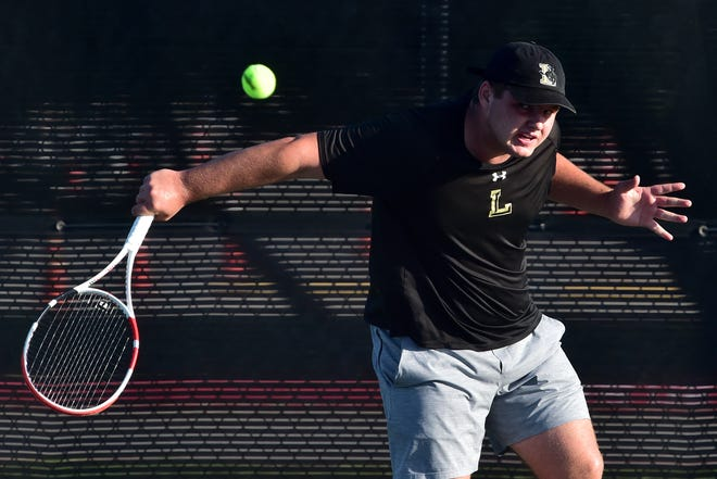 Lubbock High sophomore Harrison Bennett returns a shot during the UIL Class 5A state tournament Thursday in San Antonio. Nathan Tserng from Frisco Lebanon Trail beat Bennett 6-2, 6-2 in a boys singles state semifinal.