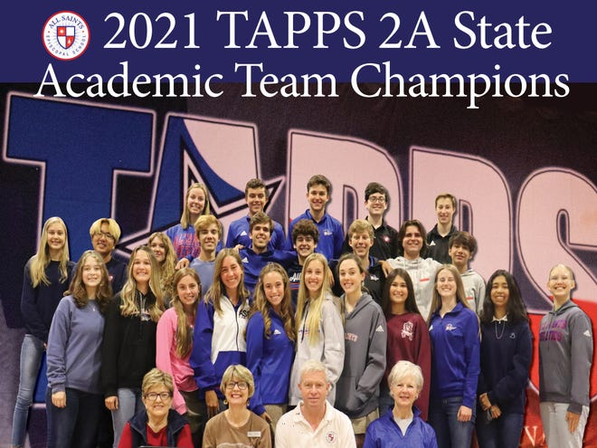 Pictured are the All Saints Episcopal High School students and advisers who won the TAPPS 2A State Academic Competition to claim the high school's first Academic Team State Championship.