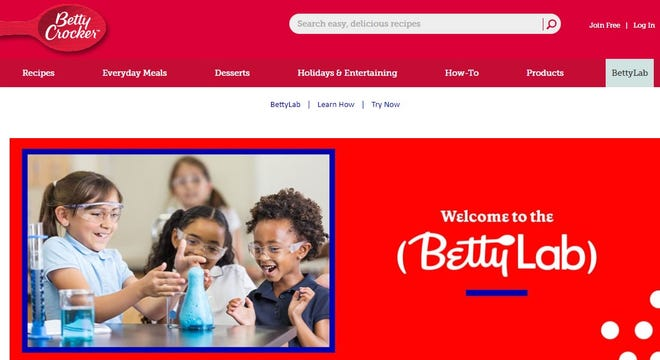 BettyLab from the Betty Crocker brand uses cooking and baking to help teach and reinforce science education. The problem is the promotional materials feature only women.