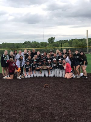 Shown is the Basehor-Linwood softball team after capturing the 5A regional championship and qualifying for state Wednesday.
