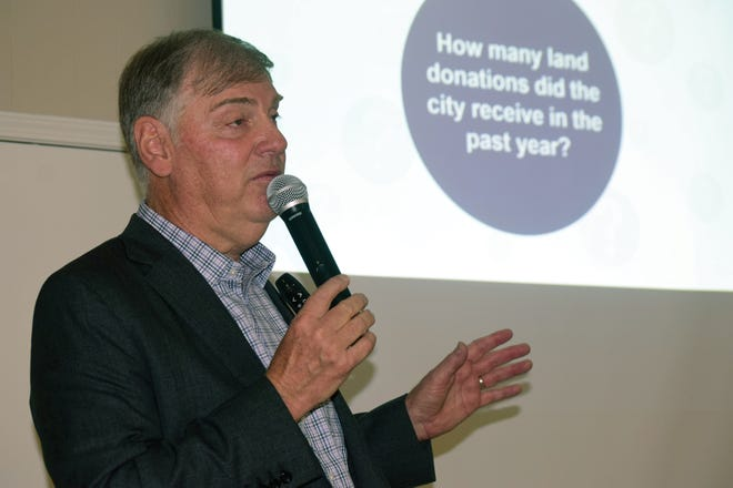 Mayor David Breuer delivers a state of the city address Thursday in Basehor.