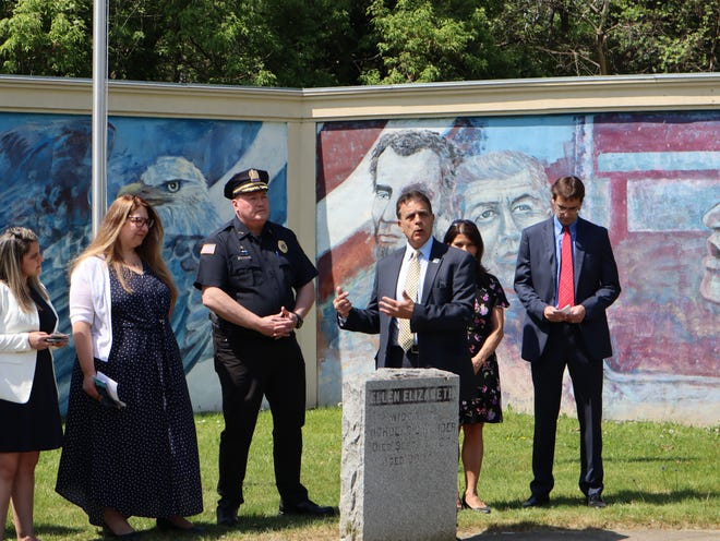 Utica Mayor Robert Palmieri speaks Thursday, May 20, 2021 at Martin Luther King Jr. Dream Park in Utica about the launch of a partnership between the Neighborhood Center and Utica police.