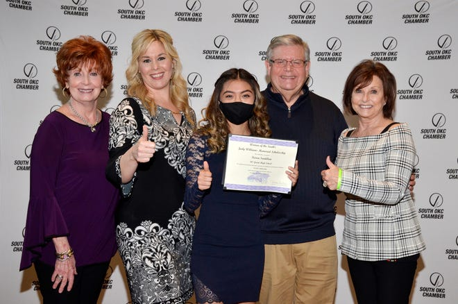 Pictured during the South Oklahoma City Chamber's Excellence in Education Banquet are, from left, R. Howell, Founding WOS Member; Brandi Mertens, Woment of the South member and scholarship presenter; Karen Santillan of U.S. Grant High School; Pepper Williams; and Linda Neimann, Founding Women of the South member and lifetime adviser.