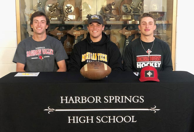 Harbor Springs athletes (from left) Grant Richardson (Saginaw Valley), Ethan Schumaker (Michigan Tech) and Derek Hebner (Concordia) all made things official this week to play at the next level.