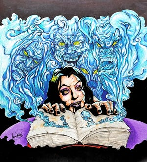 """Artist Jamie Cook created the artwork for the cover of the soon-to-be-released """"Shock Horror Diary."""""""