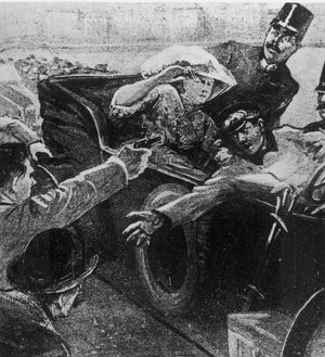 An artist's rendition shows the assassination of Archduke Franz Ferdinand of Austria-Hungary and his wife, Czech Countess Sophie Chotek, during their visit to Sarajevo, Bosnia, on June 28, 1914.