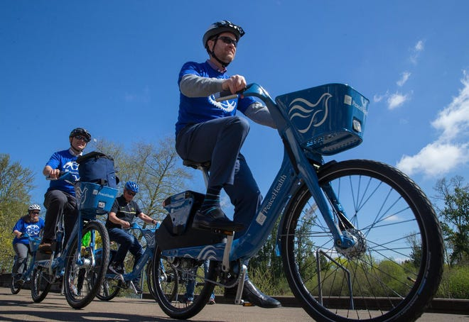 The city of Eugene operates PeaceHealth Rides, a bike-sharing rental service.