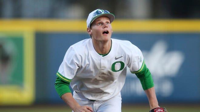 Oregon shortstop Josh Kasevich is hitting .314 this season, one of five Oregon starters hitting better than .300.