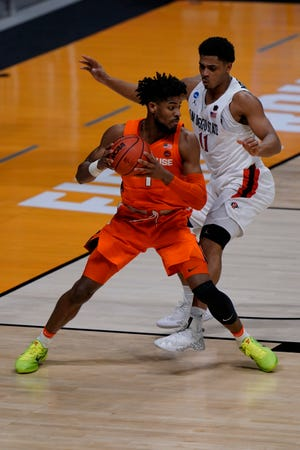 Syracuse forward Quincy Guerrier (1) as San Diego State played Syracuse in the first round of the NCAA tournament in March. (AP Photo/AJ Mast)