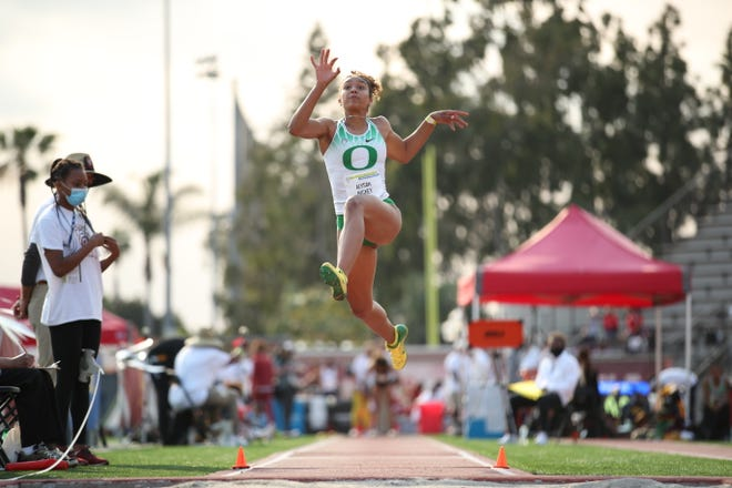 Alysah Hickey, who won the Pac-12 women's long jump title last weekend, is the conference women's freshman of the year.