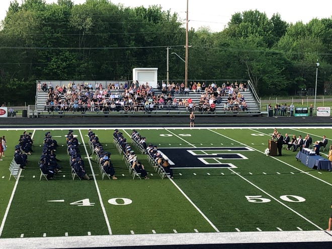 Fairless High School graduates 121 seniors during an outdoor ceremony Wednesday, May 19, 2021, in Brideweser Stadium in Brewster. It was their first in-person commencement since COVID-19 outbreak in 2020.