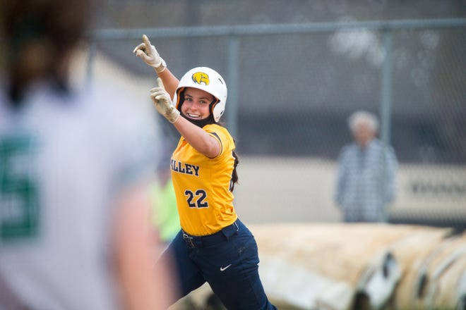 Rock Valley College's Kirstin Fudge celebrates a home run against College of DuPage on May 19 in Rockford. RVC has hit a team record 83 home runs so far this season, topping the previous record of 64.