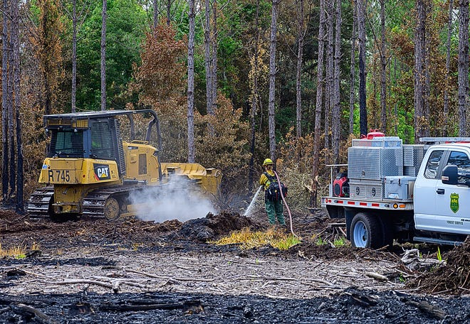 Florida Forest Service firefighters work to extinguish hot spots of a wildfire on private land near Oscar Ashton Road, south of County Road 208, on Thursday.