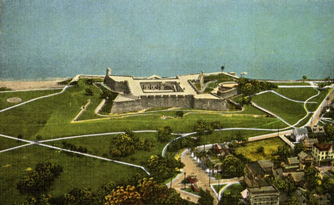 An aerial view of Castillo de San Marco in 1942. It was ironic that the capitulation of Fort Morro in Havana rather than the Castillo at St. Augustine should have been Florida's downfall.