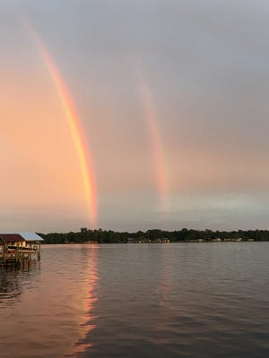 Double rainbow over St. Johns River at Jack Wright Island.