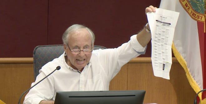 David Samuel, a member of the Sarasota County Charter Review Board, holds up a copy of the lengthy 2018 general election ballot, which included a measure about each district choosing its own county commissioner. The ballot was too busy, he said, and left a lot of room for confusion.