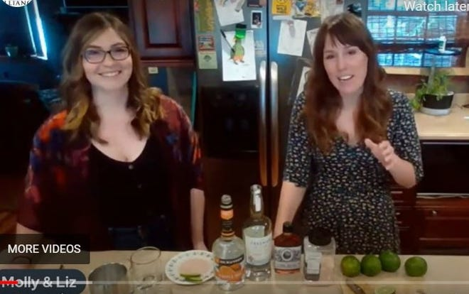 """Liz Rupel, left, and Molly Gleason star in the Illinois Stewardship Alliance's live video series """"What's Cooking at the Capitol."""" This image is from their first video in which they talk about the Home-to-Market Act while mixing up a blackberry-honeysuckle margarita."""