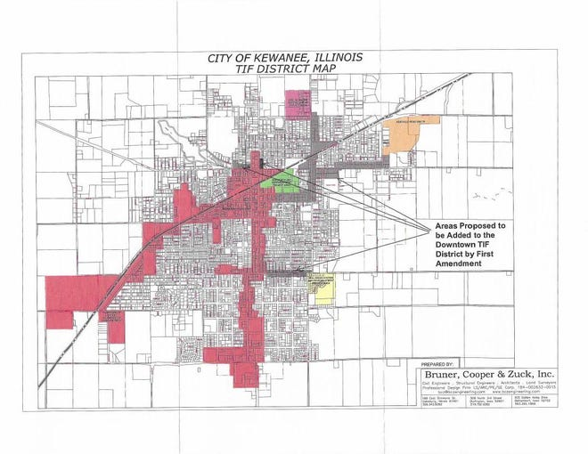 Of the five Kewanee Tax Increment Financing Districts, the largest is the downtown district, which stretches well past downtown and to the city's south and west borders.