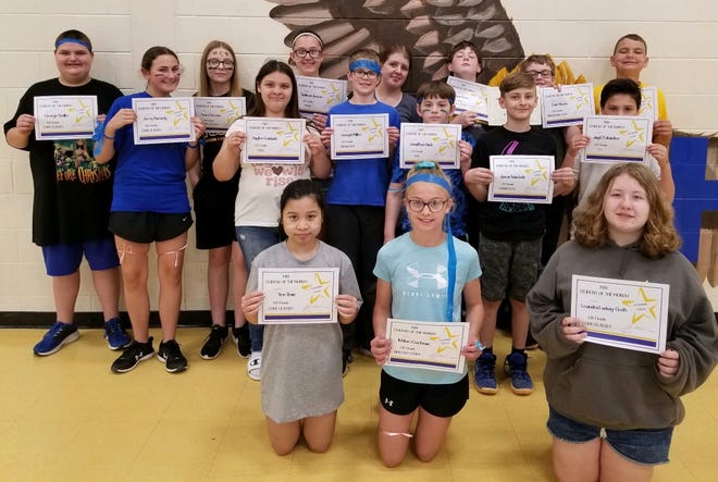 Sixth-graders at Holgate Middle School who were May students of the month are, back row, from left, George Beilke, Jerzy Parmely, Grace Reszler, Addison Jenson, Faith Waldner, Ryan Ross, Evin Stucke, Mitchell Hofer, middle row, Payten Goldade, Joseph Miller, Johnathan Hieb, Jaxon Wacholz, JayC Edmisten, front row, Yen Tran, Khloe Cochran and Leandra Ludwig-Groth.