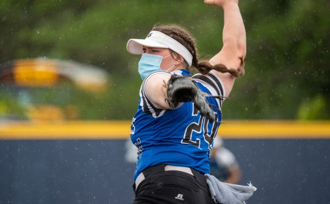 Washburn Rural's Olivia Bruno was dominant in the circle during Wednesday's Class 6A softball regional at Washburn's Gahnstrom Field. She threw a one-hitter in a 12-0 championship game win over Dodge City, striking out 12, and also belted a home run that energized the Junior Blues.