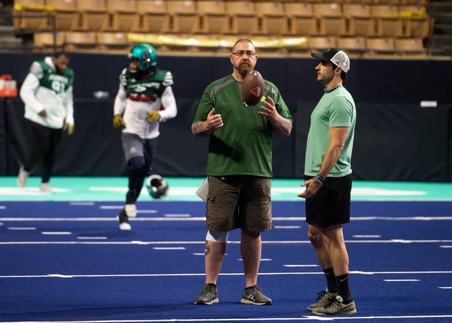 Massachusetts Pirates assistant coach Jerry Snay, left, during practice this week at the DCU Center, where the team will play its home opener Saturday.