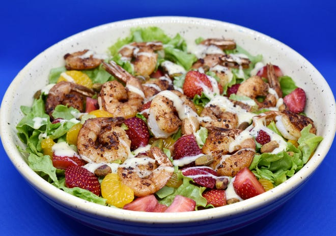 Strawberry and Shrimp Salad with Creamy Poppyseed Dressing