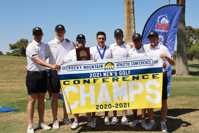 The Colorado State University Pueblo men's golf team celebrated what coach Josh Koschke calls the team's best year. The team won the Rocky Mountain Athletic Conference championship before finishing 14th at the Division II National Championship tournament.