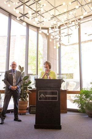 Jane Rawlings, the Rawlings Foundation president, announces a $1 million gift to the Sangre de Cristo Arts and Conference Center. Photo taken May 20, 2021