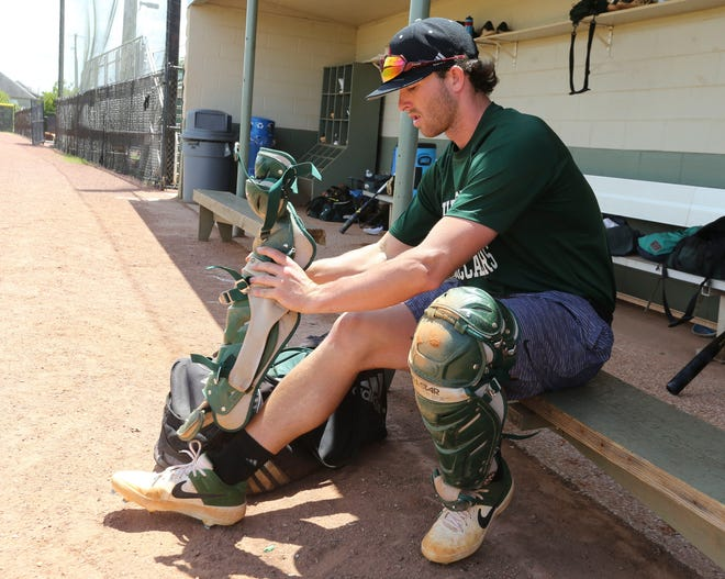 Shelton State catcher Colby Smelley works out during practice Wednesday, May 19, 2021. [Staff Photo/Gary Cosby Jr.]