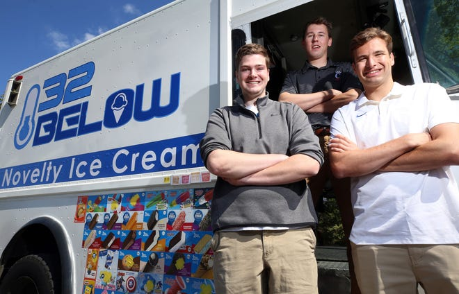 Tad Fisher (left), Cason Williams, and Enzo Bergese are the owners of 32 Below Novelty Ice Cream. The business for the 2018 Upper Arlington High School graduates caters mostly to corporate and special events throughout central Ohio.