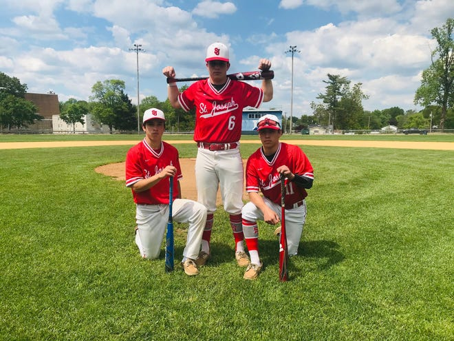 Ty Mercado, left, Brock Mercado, center, and Cohl Mercado, right, are cherishing a rare opportunity to play with each other this spring. The Mercado brothers have powered the St. Joseph baseball team to a 12-5 mark so far this year.