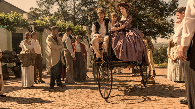 """Bertha Benz (Amy Wilson) in a scene from the History Channel's """"The Cars That Built the World."""""""