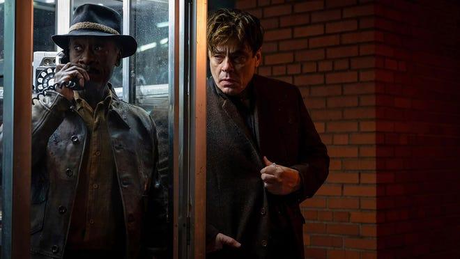 """Don Cheadle and Benicio del Toro in a scene from Steven Soderbergh's """"No Sudden Move,"""" which will premiere at the Tribeca Film Festival."""