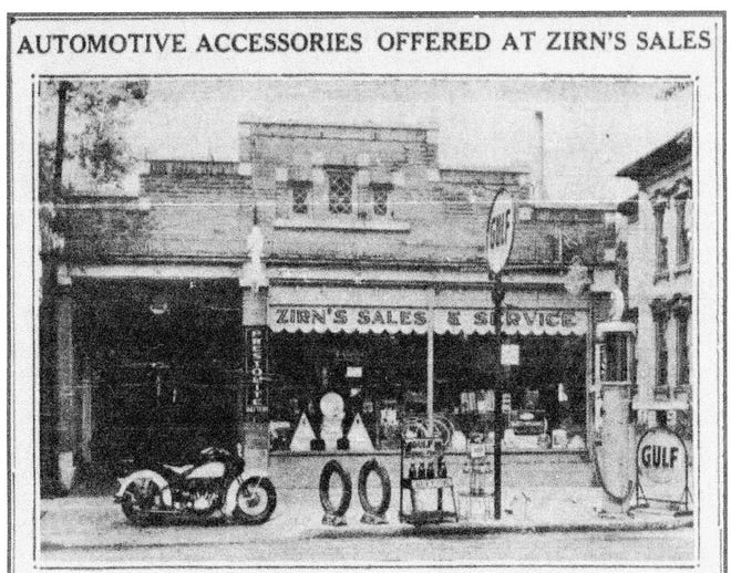 Harold Zirn's Gulf Station was located in Fremont on South Front Street in 1934.