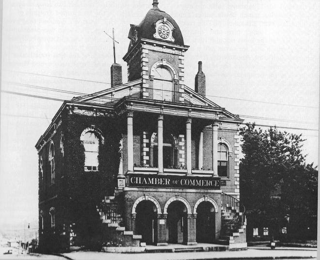 """Greenville's first courthouse, c. 1821, was its somewhat dilapidated Records Building by the time of the first world war. The library committee first proposed that the Carnegie library be located on its upper floor, with an elevator installed to reach it. Later plans for its demolition involved plans for a """"bowling alley""""-like library."""