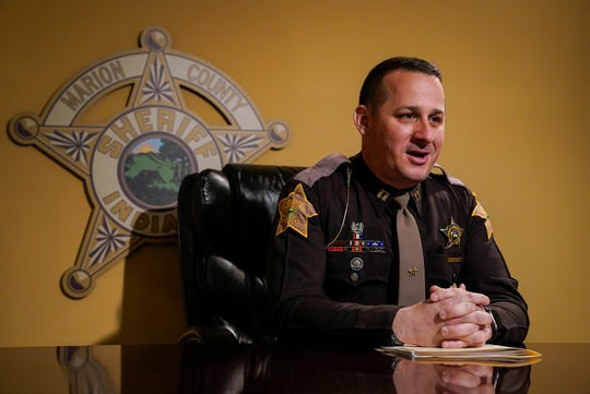 Capt. David Roberts of the Marion County Sheriff's Office talks with IndyStar about how officers respond to a 'suicide by cop' attempt, Thursday, May 20, 2021, at the Marion County Sheriff's office in Indianapolis.